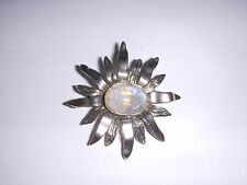 Sterling silver 925 Sun design with rainbow moonstone brooch pendant