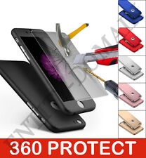 Hybrid 360° Hard Ultra thin Case Tempered Glass Cover For iPhone 5 6 6s SE 5s