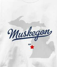 Muskegon, Michigan MI MAP Souvenir T Shirt All Sizes & Colors