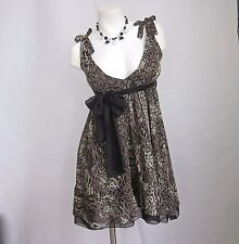 BEULAH Multi Leopard S L Empire Dress Rockabilly Pinup New Lined Chiffon NWT