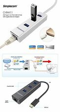 USB 3.1 Type C to 3 Port USB3.0 HUB with RJ45 Gigabit Ethernet Adapter Aluminium