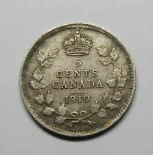 1919 CANADA 5 CENTS SILVER COIN GEORGE V FREE COMBINE SHIPPING