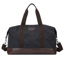 Canvas Leather Duffle Bags Mens Large Gym Bag Weekender Travel Luggage Holdall