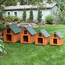 Dog House Solid Wood Outside A-Frame Stained  Rustic Window Spacious Pet