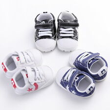 Stylish Sneakers Newborn Baby Crib Shoes Canvas Kid Infant Toddler Soft Sole QSP