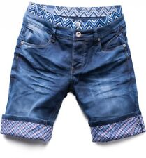 Men's Denim Shorts Jeans stretch Pants dark blue checked Waikiki Bermuda