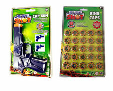 CAP PISTOL GUN OR 200 ROLL CAPS RINGS SURE SHOT PLASTIC KIDS CHILD TOY OUTDOOR