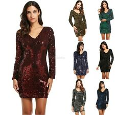 Women's V-Neck Long Sleeve Sequined Cocktail Bodycon club party Mini Dress HTBM