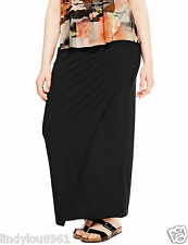 M&S Black Jersey Style Pull on Maxi Skirt Size 24 Plus Size BNWT
