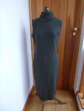 PARAPHRASE EXTRA FINE MERINO WOOL RIB SLEEVELESS MAXI JUMPER TUNIC DRESS KHAKI