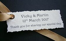 1-100 Personalised Wedding Favour Gift Tags -White, Ivory -Any Personalised Text