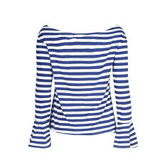 Women Navy Striped Off Shoulder Bell Sleeve T-shirt Blouse Party Casual Tops