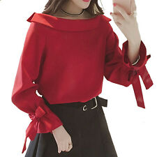 New Simple Women Spring Fashion Korean Off Shoulder Butterfly Sleeves Shirt Tops