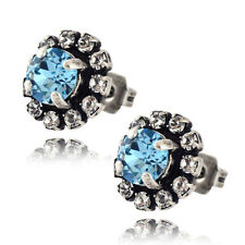 Nara Small Round 2 Layer Crystal Stud Earrings, Silver Plated Posts w Swarovski