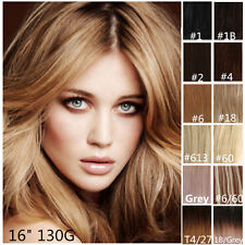 "Luxury Clip in 100% Remy Human Hair Extensions Full Head 16"" 130g Double Wefted"