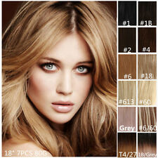 "Clip In Remy Human Hair Extensions Half Head 18"" 7PCS"