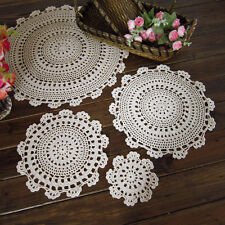 Round Tablecloth Hand Crochet Lace Cotton Table Cloth Doily Cover Placemat