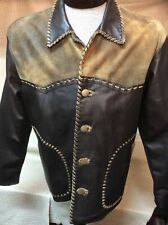 New Mens Vintage Italian Lamb Skin Brown Leather Western Cowboy Dress Jacket