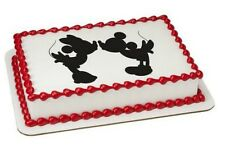 Minnie & Mickey Mouse Silhouette image cake topper frosting sheet #21356
