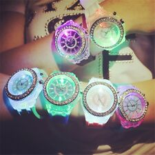 7 Colours Fashion LED Watch Women Sport Quartz Wrist Backlight Waterproof Casual