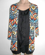 Loving It Size 18  Black Red Blue Yellow Round Neck 3/4 Sleeve Tunic Top BNWT