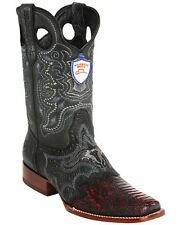 Men's Wild West Genuine Ostrich Leg With Saddle Vamp Square Toe Western Boots