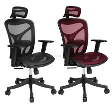 2 Colors Ergonomic Executive Mesh Home Office Chair with Headrest + Armrest HTBM