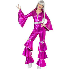 Pink Dancing Dream Queen 1970s 70s Ladies Fancy Dress Costume Party Outfit 38520