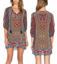 Summer Hippie Boho Gypsy Beach Dress Bohemian Casual Loose Party Mini Dress