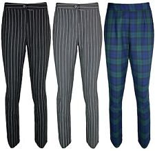 Womens Ladies Slim Tapered Pinstripe Check Tartan Petite Trousers Sizes uk4-14.