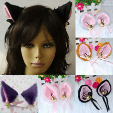 Cosplay Party Cat Fox Faux-Fur Ears Bell Anime Costume Hair Clip MultiColor TO
