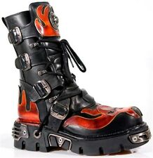 New Rock black red 107-S1 Metallic Boots Shoes Real leather Goth Punk Skirt