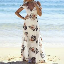 Cold Shoulder Halter Floral Print Long Maxi Dress Summer Beach Chiffon Dress S-L