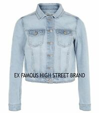 Ladies Womens Girls Ex NEW LOOK Authentic Stonewashed Denim Blue Jacket Size8-18