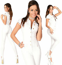 Sexy New Women's Denim Jeans White Playsuit Jumpsuit Overall Skinny Slim D 717