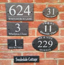Rustic Slate House Sign Gate Plaque Door Number Personalised Oval Name Plate NEW