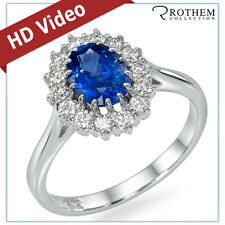 1.64 ct White Gold Princess Lady D Oval Blue Sapphire Engagement Ring 48046018