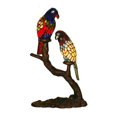 Branch Dural Parrots Red Stained Glass Tiffany Table Light Bedroom Night Light