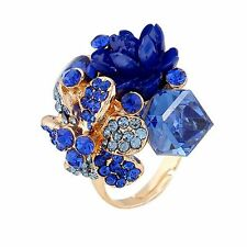 Jewelry Lady Party Crystal Adjustable Ring Resin Flower Colorful