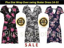 Womens Wrapover Floral Print Swing Dress Short Sleeve Flared Plus Size 14-32
