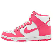 Nike Dunk High Leather Shoes Sneakers White - Pink Ladies Trainers Air Force 1