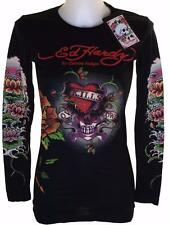 New Women's Ed Hardy Long Sleeve Specialty T Shirt Love Kills Slowly Black