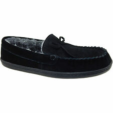 Women's Black Essential Genuine Leather Moccasin Slippers Size 9-10 Large