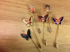 Vintage Cloisonne Stick Pin Colorful Enamel Top Gold Plated Pin for Lapel or Hat