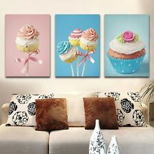 3PC Oil Canvas Painting Sweets Cake Home Decor Modern Picture For Living Room