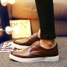 New Mens Casual Leather Breathable Sneakers Business Loafers Flats Shoes