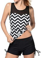 New Womens Two Pieces Chevron Bikini Set Swimsuit Tankini with Boyshort Swimwear