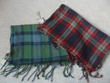 2 x EX FAT FACE MEN'S RED & GREEN CHECK PRINT FRINGED VINTAGE WASH SCARF SCARVES
