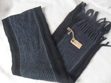 FAT FACE NAVY MARL MIX STRIPE PRINT VINTAGE WASH QUALITY FRINGED KNITTED SCARF