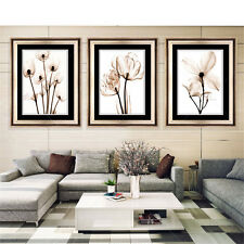 3PC Oil Painting Home Decor Canvas Print Frameless Flower for Living Room Wall